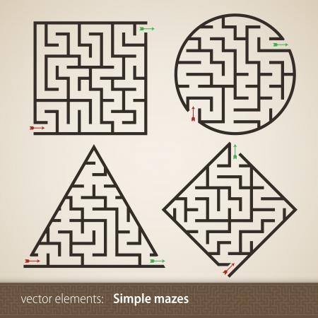 4 つの完璧な迷路のセット  イラスト・ベクター素材