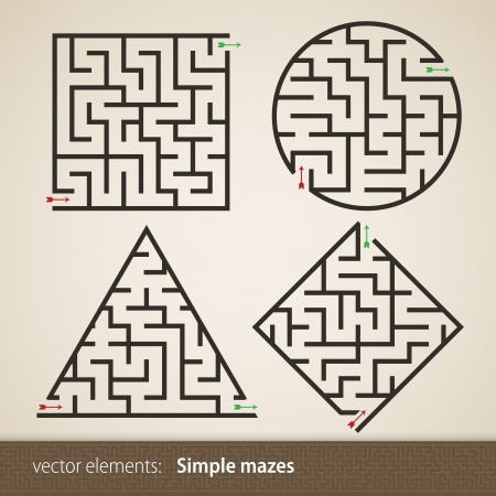 Set of four perfect maze Illustration