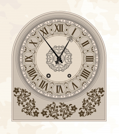 numeral: Antique clock. illustration.