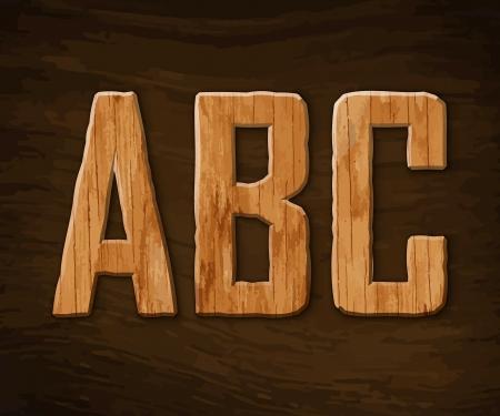 Alphabet made of wood.  illustration. Stock Vector - 18285093