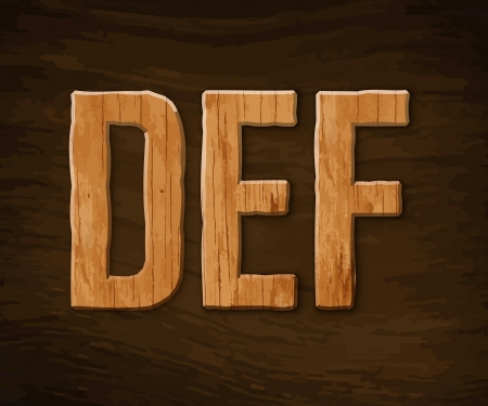 Alphabet made of wood. illustration. Stock Vector - 18285104