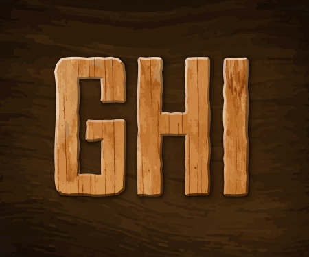 skew: Alphabet made of wood.  illustration.