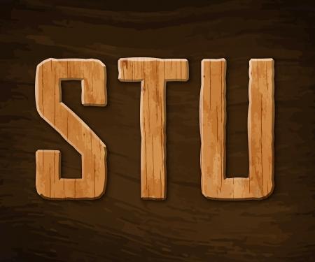 tarima madera: Alfabeto hecho de madera. ilustraci�n. Vectores