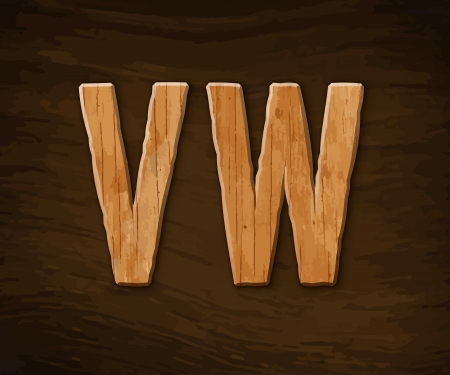 Alphabet made of wood.  illustration. Stock Vector - 18285082