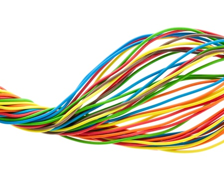 telephone cable: Bunch of different colors wires  Isolated  on white