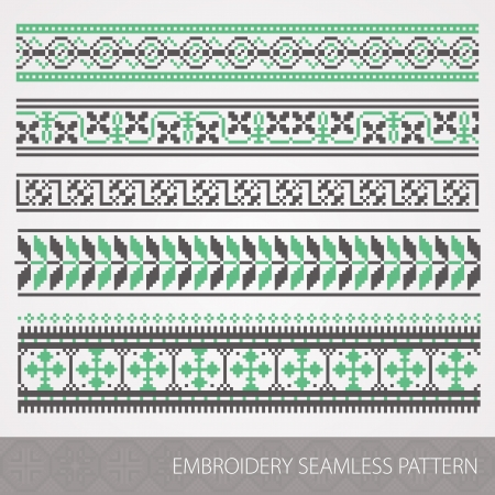 belorussian: Collection of embroidery ornament. Vector illustration.