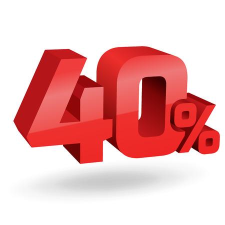 sell off: 40% percent; digits. Vector illustration. Illustration