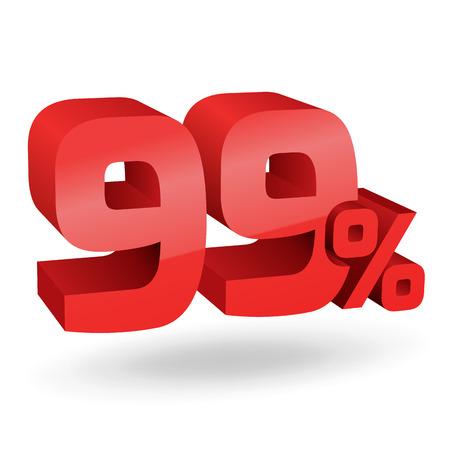 99: 99% percent; digits. Vector illustration.