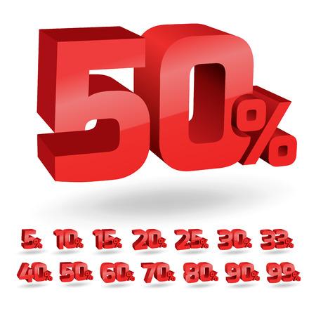 Set of percent discount digits. Vector illustration. Illustration