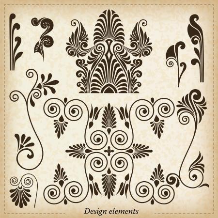 neocl�sico: Antiguo griego adornos ilustraci�n vectorial