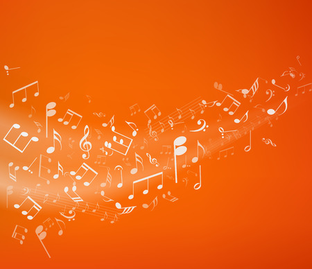 dance music: Orange music background. Vector illustratin.