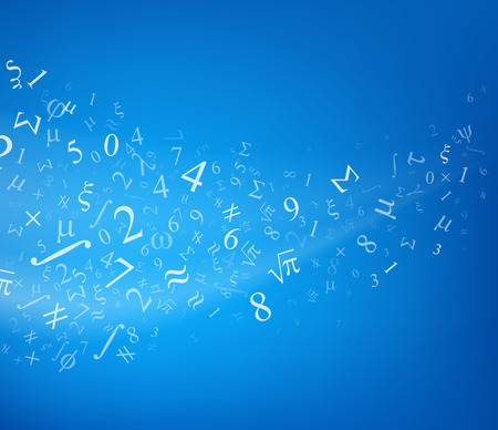 Fond bleu avec des chiffres, illustration vectorielle.