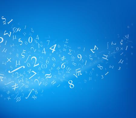 matematica: Fondo azul con números, ilustración vectorial.