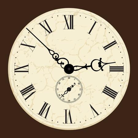 o'clock: Old clock.Vector illustration.