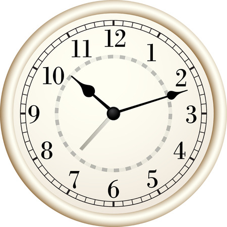 object with face: Old clock.Vector illustration.