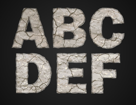 rubble: Stone letters set. Vector illustration.