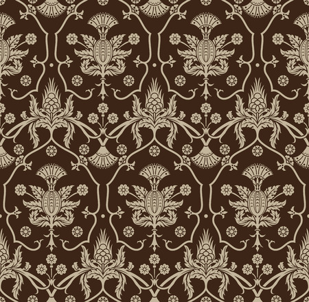 antiquated: Seamless background with beige ornaments