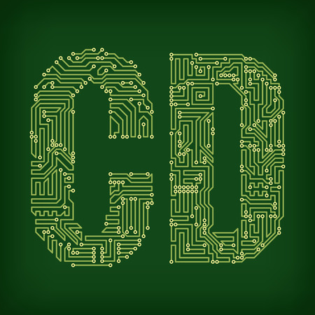 pcb: PCB letter and digits. Illustration