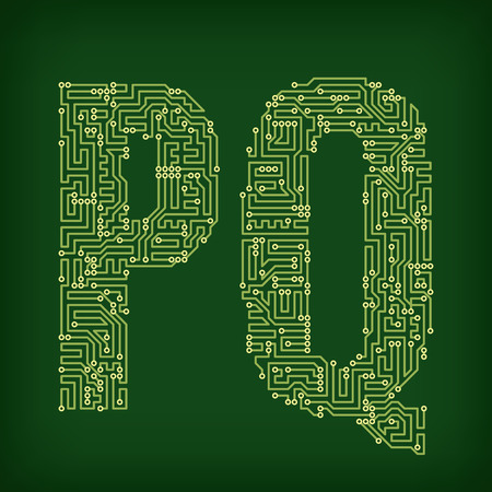 bytes: PCB letter and digits. Vector illustration.