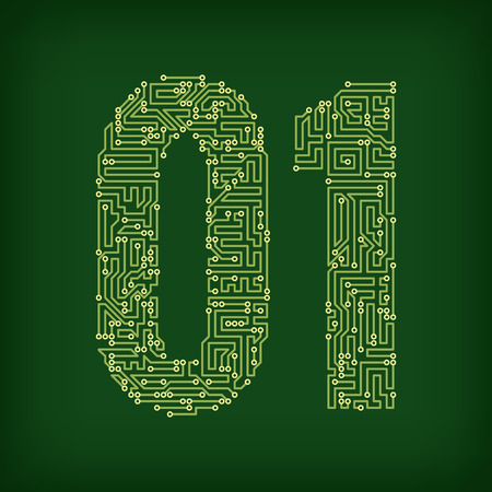 pcb: PCB letter and digits. Vector illustration.