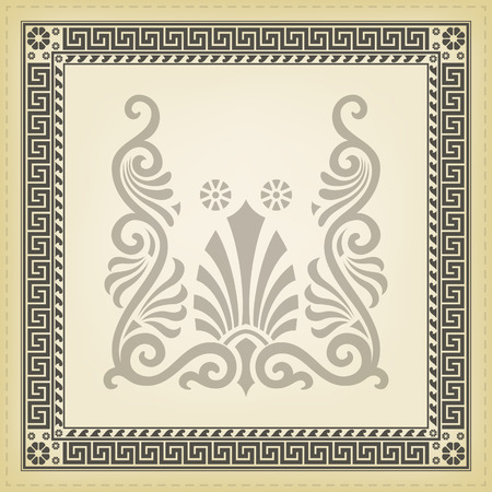 Greek traditional meander border. Vector illustrations. Çizim