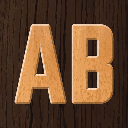 serif: Sans serif geometric font with wood texture. Vector illustration
