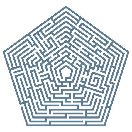 pentagon: Vector illustration of labyrinth. Some wrong ways and one exit. Illustration