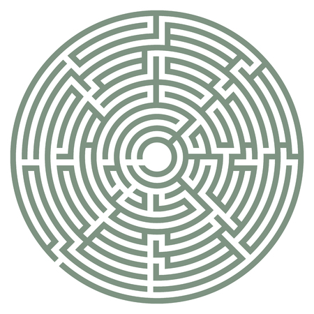 Vector illustration of labyrinth. Some wrong ways and one exit. Illustration