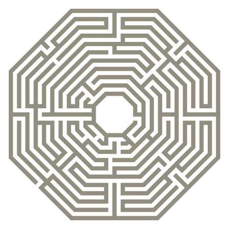 Vector illustration of labyrinth. Some wrong ways and one exit. Vettoriali