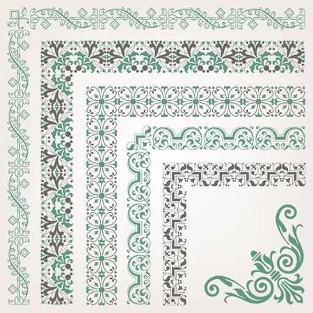 bordes decorativos: Cenefa decorativa inconsútil islámico con la esquina Vectores