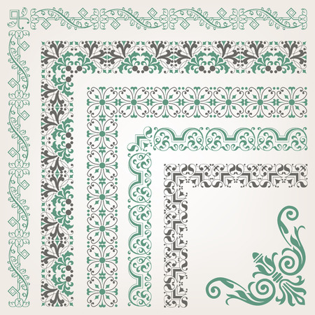 Decorative seamless islamic ornamental border with corner