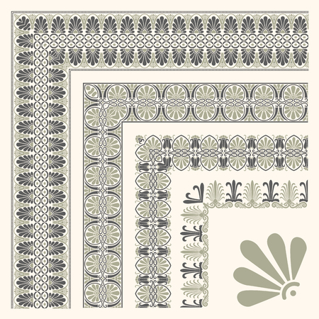 pattern antique: Decorative seamless islamic ornamental border with corner