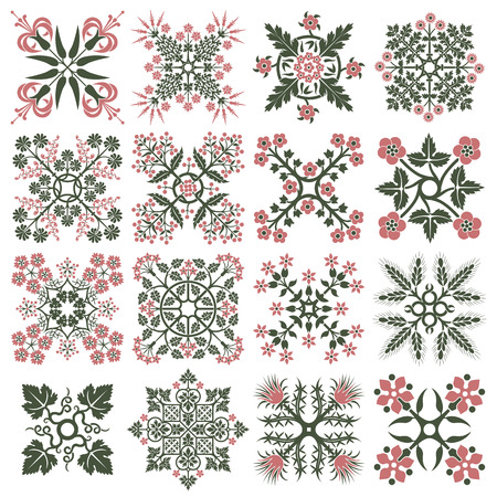 rosetta: Floral style design elements. illustration.