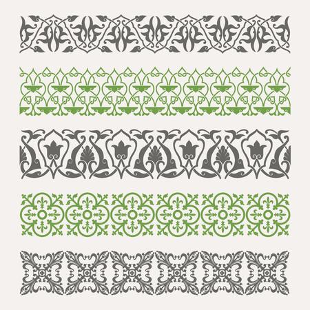 lace filigree: Decorative seamless ornamental borders set
