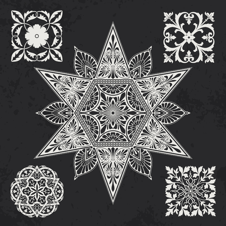 rosetta: Floral and geometry design elements Illustration