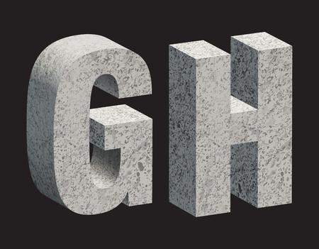 lettere 3D calcestruzzo. illustrazione.