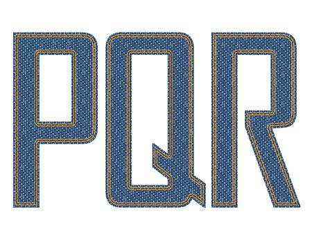 denim fabric: Denim fabric stithed letters. illustration.
