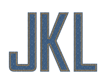denim fabric: Denim fabric stithed letters.  illustration. Illustration