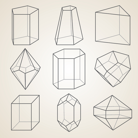 Set of geometric crystals. Geometric shapes.
