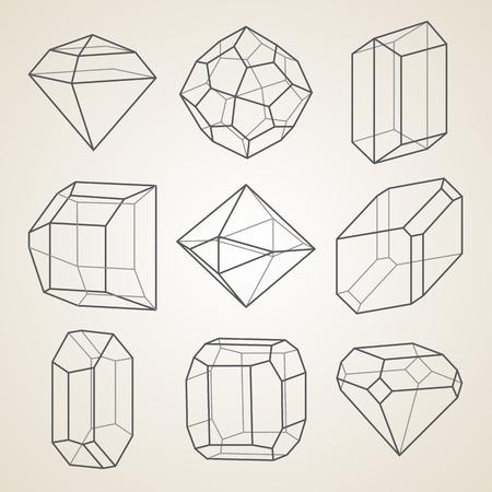 Set van geometrische kristallen. Geometrische vormen. Stock Illustratie