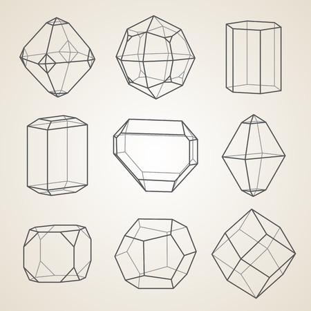 Ensemble de cristaux géométriques. Formes géométriques.