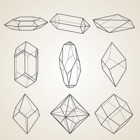 mineral stone: Set of geometric crystals. Geometric shapes.