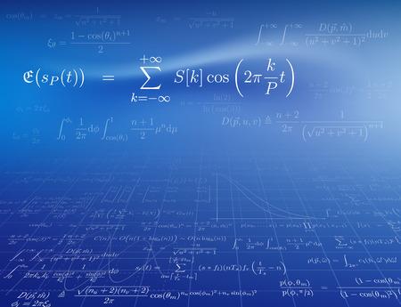 Fondo con fórmulas matemáticas. Ilustración del vector.