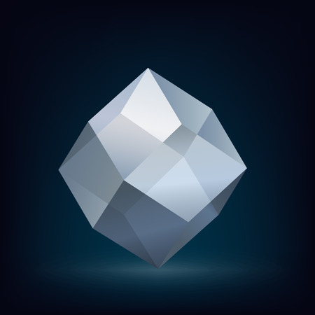 crystal glass: Abstract glass crystal low poly design set. Vector illustration. Illustration