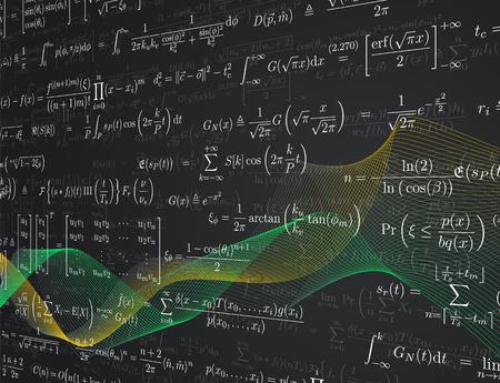 수학 수식 배경입니다. 벡터 일러스트 레이 션.