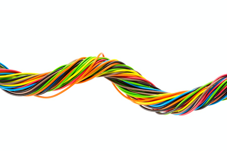 Color wires on white background Stock Photo