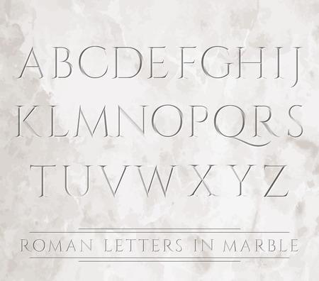 Oude Romeinse letters gebeiteld in marmer. Kan over verschillende achtergronden worden geplaatst. Stock Illustratie