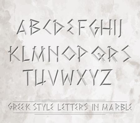Antike griechische Buchstaben in Marmor gemeißelt. Kann über verschiedene Hintergründe gelegt werden.