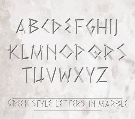 Letras griegas antiguas cinceladas en mármol. Puede colocarse sobre diferentes fondos.
