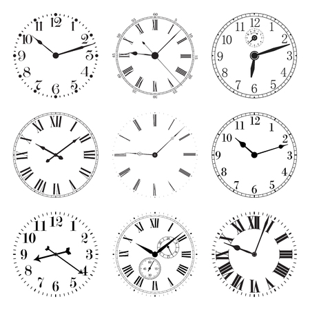 Set of Clocks. Vector illustration isolated on white background.